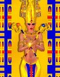 Αιγυπτιακή τέχνη φαντασίας μιας μυστήριας και ισχυρής απόκρυφης γυναίκας Στοκ Εικόνα