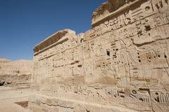 αιγυπτιακός ιερογλυφικός τοίχος ναών γλυπτικών Στοκ Εικόνα