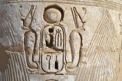 αιγυπτιακός ιερογλυφικός τοίχος ναών γλυπτικών Στοκ Εικόνες
