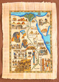 Αιγυπτιακός χάρτης στον αρχαίο πάπυρο Στοκ εικόνα με δικαίωμα ελεύθερης χρήσης