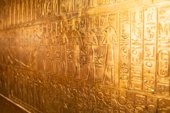 Αιγυπτιακό έκθεμα Tutankhamun βασιλιάδων στην επίδειξη σε OMSI στοκ εικόνες