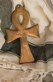 Αιγυπτιακό σύμβολο Ankh του μαντίλι ζωής & kafia backgrd Στοκ Εικόνες