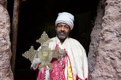 Αιθιοπία, Lalibela, τον Ιανουάριο του 2015, αιθιοπικός μοναχός, ΕΚΔΟΤΙΚΟΣ Στοκ Φωτογραφία