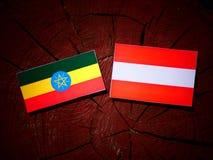 Αιθιοπική σημαία με την αυστριακή σημαία σε ένα κολόβωμα δέντρων Στοκ Εικόνα