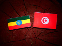Αιθιοπική σημαία με την τυνησιακή σημαία σε ένα κολόβωμα δέντρων που απομονώνεται Στοκ Εικόνες