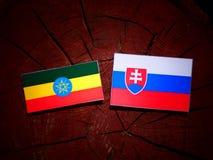 Αιθιοπική σημαία με τη σλοβάκικη σημαία σε ένα κολόβωμα δέντρων που απομονώνεται Στοκ Εικόνες