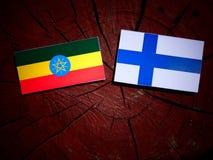 Αιθιοπική σημαία με τη φινλανδική σημαία σε ένα κολόβωμα δέντρων που απομονώνεται Στοκ εικόνες με δικαίωμα ελεύθερης χρήσης