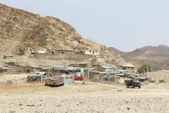Αιθιοπικό χωριό στην κατάθλιψη danakil, Αφρική Στοκ Φωτογραφία