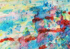 Αιματηρά κόκκινα ρόδινα μπλε μπλε κέρινα σημεία φω'των κρητιδογραφιών λαμπιρίζοντας, χρώμα watercolor, ζωηρόχρωμα χρώματα Στοκ Εικόνες