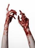 Αιματηρά χέρια σε ένα άσπρο υπόβαθρο, zombie, δαίμονας, μανιακός, που απομονώνεται Στοκ Εικόνα