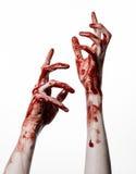 Αιματηρά χέρια σε ένα άσπρο υπόβαθρο, zombie, δαίμονας, μανιακός, που απομονώνεται Στοκ φωτογραφία με δικαίωμα ελεύθερης χρήσης