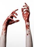 Αιματηρά χέρια σε ένα άσπρο υπόβαθρο, zombie, δαίμονας, μανιακός, που απομονώνεται Στοκ Εικόνες
