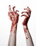 Αιματηρά χέρια σε ένα άσπρο υπόβαθρο, zombie, δαίμονας, μανιακός, που απομονώνεται Στοκ εικόνες με δικαίωμα ελεύθερης χρήσης