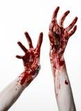 Αιματηρά χέρια σε ένα άσπρο υπόβαθρο, zombie, δαίμονας, μανιακός, που απομονώνεται Στοκ φωτογραφίες με δικαίωμα ελεύθερης χρήσης