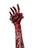 Αιματηρή αλυσίδα εκμετάλλευσης χεριών, αιματηρή αλυσίδα, θέμα αποκριών, άσπρο υπόβαθρο, που απομονώνεται Στοκ φωτογραφίες με δικαίωμα ελεύθερης χρήσης