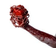 Αιματηρή αλυσίδα εκμετάλλευσης χεριών, αιματηρή αλυσίδα, θέμα αποκριών, άσπρο υπόβαθρο, που απομονώνεται Στοκ εικόνα με δικαίωμα ελεύθερης χρήσης