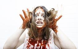 Αιματηρή τρελλή γυναίκα Στοκ Εικόνες