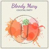 αιματηρή Mary Συρμένη χέρι διανυσματική απεικόνιση του κοκτέιλ ζωηρόχρωμο watercolor ανασκόπησης Στοκ Εικόνα