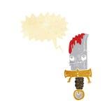 αιματηρός χαρακτήρας κινουμένων σχεδίων μαχαιριών με τη λεκτική φυσαλίδα Στοκ Εικόνα