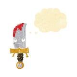 αιματηρός χαρακτήρας κινουμένων σχεδίων μαχαιριών με τη σκεπτόμενη φυσαλίδα Στοκ Φωτογραφία