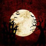 Αιματηρό κόκκινο υπόβαθρο αποκριών με τα ρόπαλα, τη πανσέληνο, το δέντρο, την αράχνη, τους Ιστούς και το κάστρο ελεύθερη απεικόνιση δικαιώματος