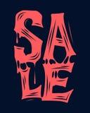 Αιματηρό σχέδιο τυπογραφίας πώλησης αποκριών για τη διαφήμιση εμβλημάτων στοκ εικόνα με δικαίωμα ελεύθερης χρήσης