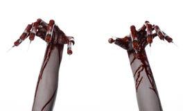 Αιματηρό χέρι με τη σύριγγα στα δάχτυλα, toe συρίγγων, σύριγγες χεριών, φρικτό αιματηρό χέρι, θέμα αποκριών, zombie γιατρός, λευκ Στοκ Φωτογραφία
