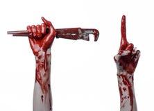Αιματηρό χέρι που κρατά ένα διευθετήσιμο γαλλικό κλειδί, αιματηρός βασικός, τρελλός υδραυλικός, αιματηρό θέμα, θέμα αποκριών, άσπ Στοκ εικόνες με δικαίωμα ελεύθερης χρήσης