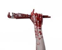 Αιματηρό χέρι που κρατά ένα διευθετήσιμο γαλλικό κλειδί, αιματηρός βασικός, τρελλός υδραυλικός, αιματηρό θέμα, θέμα αποκριών, άσπ Στοκ Φωτογραφίες
