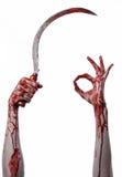 Αιματηρό χέρι που κρατά ένα δρεπάνι, αιματηρό, αιματηρό δρεπάνι δρεπανιών, αιματηρό θέμα, θέμα αποκριών, άσπρο υπόβαθρο, που απομ Στοκ Εικόνες
