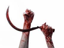 Αιματηρό χέρι που κρατά ένα δρεπάνι, αιματηρό, αιματηρό δρεπάνι δρεπανιών, αιματηρό θέμα, θέμα αποκριών, άσπρο υπόβαθρο, που απομ Στοκ εικόνα με δικαίωμα ελεύθερης χρήσης