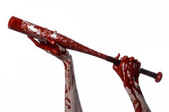 Αιματηρό χέρι που κρατά ένα ρόπαλο του μπέιζμπολ, ένα αιματηρό ρόπαλο του μπέιζμπολ, ρόπαλο, αθλητισμός αίματος, δολοφόνος, zombi Στοκ εικόνες με δικαίωμα ελεύθερης χρήσης