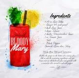 Αιματηρό watercolor κοκτέιλ Mary Στοκ Φωτογραφία