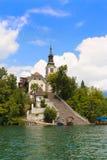 Αιμορραγημένες λίμνη και εκκλησία Αγίου Mary στοκ φωτογραφία με δικαίωμα ελεύθερης χρήσης