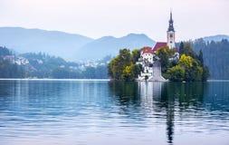 αιμορραγημένος εξισώνοντας νησιών συμπαθητική αντανάκλαση Σλοβενία βουνών λιμνών τη μέση Σλοβενία Στοκ εικόνες με δικαίωμα ελεύθερης χρήσης