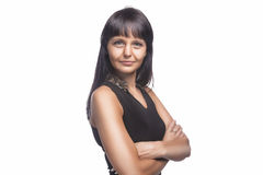Αισθησιακό χαμόγελο γυναικών Brunette Στοκ Φωτογραφίες