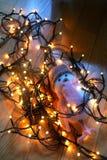 Αισθητό πουλί παιχνιδιών που περιβάλλεται από τα φω'τα Χριστουγέννων στο πάτωμα Στοκ εικόνες με δικαίωμα ελεύθερης χρήσης