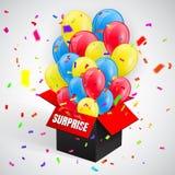 Αιφνιδιαστική αφίσα με το κομφετί και δέσμη μπαλονιών που πετά από το ανοικτό κόκκινο κιβώτιο επίσης corel σύρετε το διάνυσμα απε διανυσματική απεικόνιση