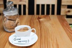 Αιφνιδιαστική προσοχή πρωινού μπισκότων καφέ προγευμάτων Στοκ εικόνα με δικαίωμα ελεύθερης χρήσης