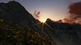 Αιχμές βουνών στην ανατολή, άποψη ελικοπτέρων, μήκος σε πόδηα αποθεμάτων απόθεμα βίντεο