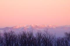 Αιχμές καλυμμένων των χιόνι βουνών στο ηλιοβασίλεμα Στοκ εικόνες με δικαίωμα ελεύθερης χρήσης