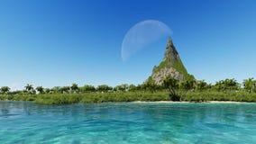 Αιχμή ενός δύσκολου βουνού σε ένα τροπικό φεγγάρι θάλασσας νησιών ελεύθερη απεικόνιση δικαιώματος