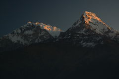Αιχμή Annapurna στην ανατολή Ιμαλάια Νεπάλ Άποψη από το Hill Poon Στοκ εικόνα με δικαίωμα ελεύθερης χρήσης