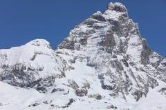 Αιχμή Matterhorn σε breuil-Cervinia Valtournenche κοιλάδα της Ιταλίας aosta Στοκ Εικόνες