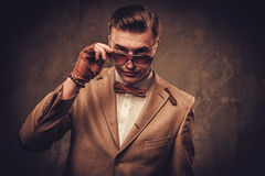Αιχμηρό ντυμένο άτομο που φορά το δεσμό σακακιών και τόξων Στοκ Εικόνες