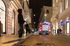 αιώνιος τρύγος καταστροφών της Ρώμης νύχτας ορόσημων της Ιταλίας πόλεων Στοκ Φωτογραφίες