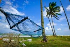 αιώρα κάτω από το δέντρο καρύδων κοντά στην παραλία με το υπόβαθρο μπλε ουρανού στην ηλιόλουστη ημέρα Στοκ φωτογραφία με δικαίωμα ελεύθερης χρήσης