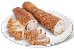 Ακέραιες φραντζόλα Baguette και ζύμη ριπών Croissant Ζ Στοκ εικόνες με δικαίωμα ελεύθερης χρήσης