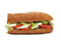 Ακέραιο baguette με την ντομάτα και τη μοτσαρέλα στοκ φωτογραφία με δικαίωμα ελεύθερης χρήσης