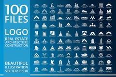 Ακίνητη περιουσία, διανυσματικό σχέδιο λογότυπων κτηρίου, σπιτιών, οικοδόμησης και αρχιτεκτονικής απεικόνιση αποθεμάτων